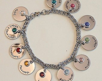 Medical Alert Charm Bracelet - stainless steel bracelet and 1 sided discs - Swarovski channel crystal or round pearl dangles
