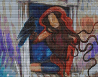 Modern Cross Stitch Kit 'Ravens Wish' By Laura Barbosa -Needlecraft Kit