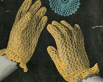 INSTANT DOWNLOAD-Vintage knitting pattern for elegant lace gloves-pdf email delivery