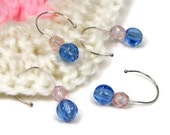 Crochet Stitch Markers Set, Removable, Snagless, Knitting, Beaded, Blue, Pink, Pastel, TJBdesigns