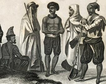 Antique Print of Greeks, Turks, Cossacks, Persians, Hindoos, Bedouins, Eskimos, Chinese - Vintage 1851 Print