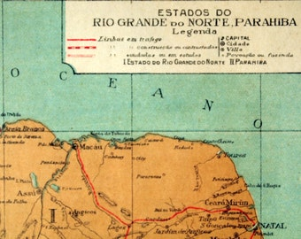 1922 Small and Tan and Old and Lovely Map of the Rio Grande do Norte and Parahiba, Northern Brazil