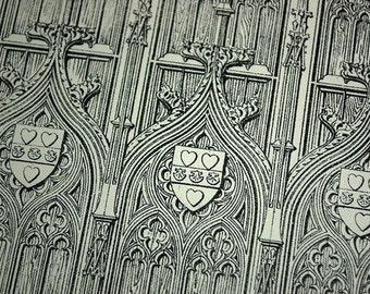 1872 English Large Antique Print of Gothic Architectural Details of the Door of the Bourges Cathedral, France. Plate no. 15