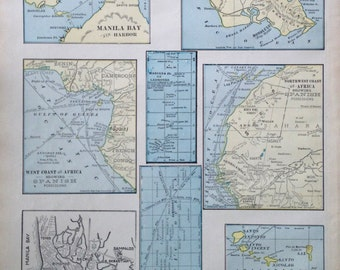 1899 Antique Map of US and Spanish Colonies and Possessions. With Oahu, Manila, Cape Verde, Caroline Islands, Marianas