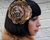 Dusky pink, gold and cream recycled vintage silk and satin rose flower fascinator corsage hair clip