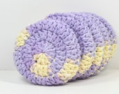 Crochet Face Scrubbies..Reusable Cotton Rounds..Lavender Cream