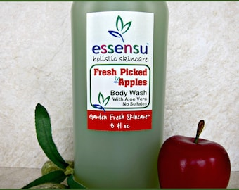 Fresh Picked Apples Organic Aloe Vera Botanical Body Wash | Vegan | Suitable for Sensitive Skin | No Sulfates , Phthalates or Dyes - 8 oz