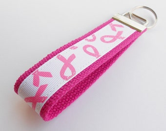 Glitter Breast Cancer Awareness Key Fob Wristlet