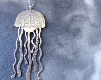 Medusa I etched sterling silver jellyfish pendant by The LadySmith