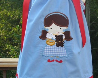 dorothy  applique pillowcase dress,birthday dress, yellow brick road,