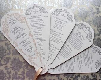 Letterpress Wedding Program Fan