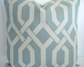 Designer Decorative Pillow Cover--Geometric--lumbar Pillow--Gatework - Robins Egg Blue and Cream--Sofa Pillow