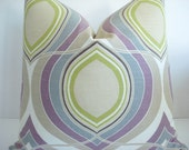 HGTV  -Both Sides - Decorative Designer  Pillow Cover- -Mauve /Lilac -Grey- Light Taupe-Celery GreenThrow / Lumbar/ Toss Pillow