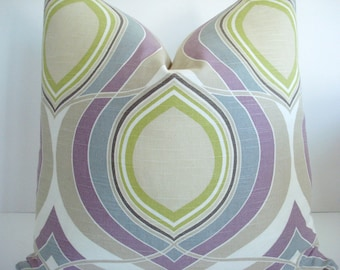 HGTV  -Both Sides - Decorative Designer  Pillow Cover- -Mauve /Lilac -Grey- Light Taupe-Celery GreenThrow / Lumbar/ Toss Pillow