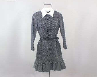 Mod Dress Black and White 60's Mini Dress with Collar