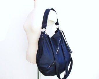 Large blue Leather Bucket Bag with Long Tassel - Royal blue