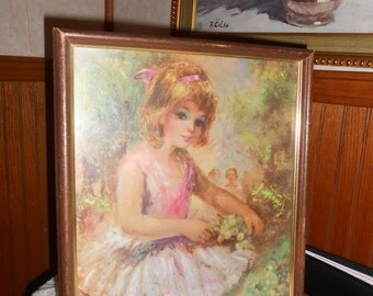 Vintage Americo Makk Big Eye Girl Ballerina framed print