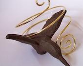 Armlet Armband Upper Arm Bracelet - Smooth Gold Arm Band - Arm Torc - Upper Arm Jewelry - Brass - Copper - Bronze - German Silver