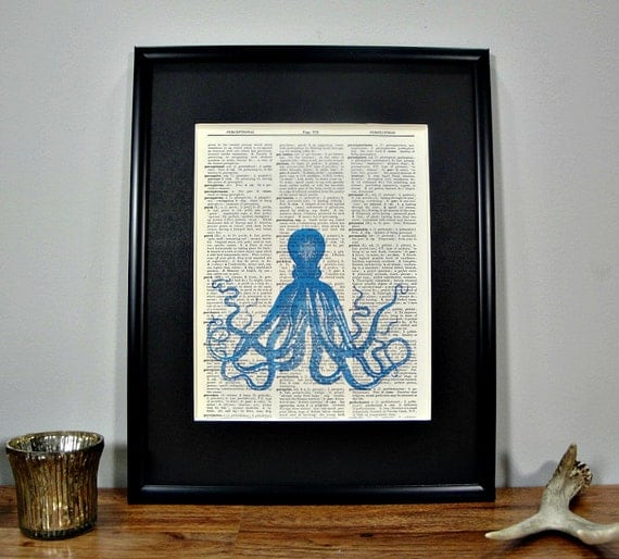 FRAMED 11x14 - Vintage Book Page Dictionary Print - Brilliant Blue Octopus