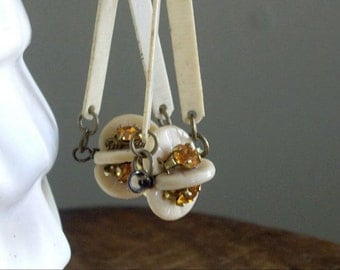 Vintage Assemblage Dangle Earrings Beige and Topaz Drop of Sunshine