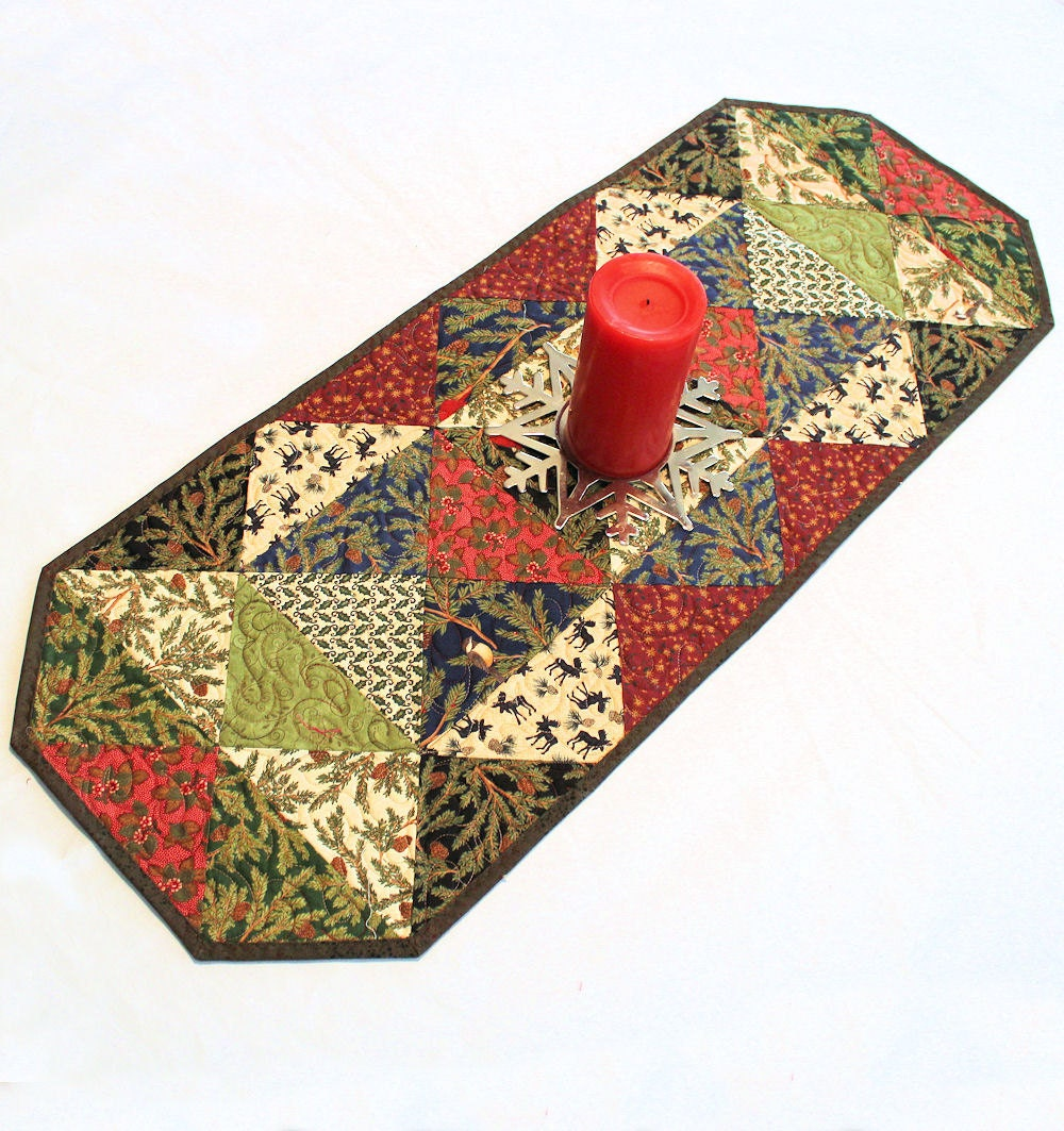 Quilted Woodland Christmas Table Runner Reversible With