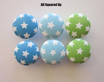 Set of 6-Blue Green White Stars Drawer Knobs