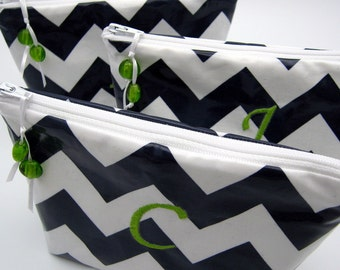 3 Cosmetic Cases - Make up Bags - Monogrammed and Wipeable for Bridesmaids -Navy Chevron Stripe
