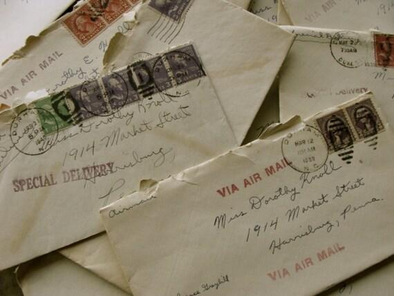 Bundle Of Antique Love Letters Lot 1930s 1940s Duke