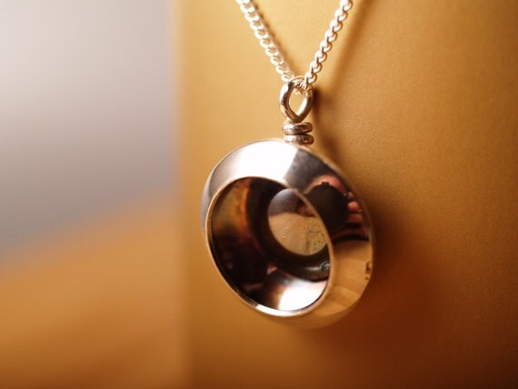 Sterling Hidden Chinese Mirror Pendant