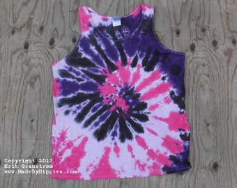Purple and Pink Spiral Tie Dye Tank Top (Fruit of the Loom Size L) (One of a Kind)