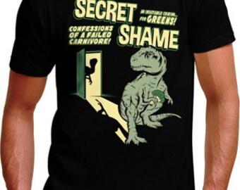 T-Rex Has a Secret T-Shirt - Men Womens & Kids Sizes Available - Vegan Vegetarian Dinosaur Funny Trex Humor