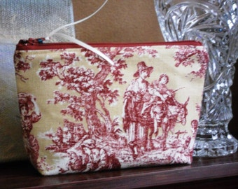 Red on Gold Toile Make-Up Pouch / Cell Phone Bag / Wristlet