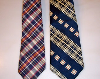 Vintage Neckties /PLAID/ Brooks Brothers / Mullins / Vintage 60's 70's / Plaid / Set of 2/Hipster