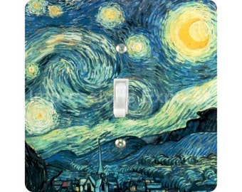 Vincent Van Gogh Starry Night Painting Square Single Toggle Light Switch Plate Cover
