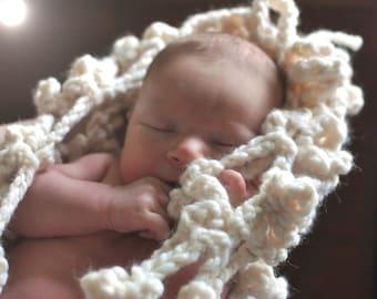 Newborn Baby Hammock Net Wrap Cocoon Original Photo Prop Stork Pouch ooak natural cream ivory chunky crochet eco friendly READY To SHIP SALE