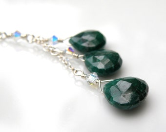 Emerald Necklace, Green Stone, May Birthstone, Triple Drop Y Pendant, Sterling Silver, Handmade Jewelry Birthday Gift
