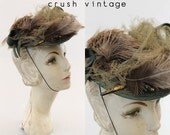 1920s Hat Coralie Feather Tilt Hat / 1930s Cap / Theda Fascinator