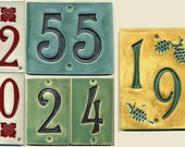 Handcrafted Two-Digit Ceramic House Number Tile Address Plaque Craftsman Style