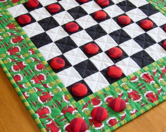 Grinch Checkers   Grinch Christmas Checkerboard   Grinch Checkers Game   Whoville Checkers Game   Seuss Checkers Game   Quilted Grinch Gift