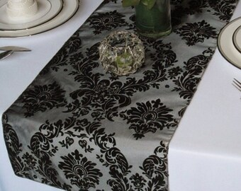 Victorian Silver and Black Flocked Damask Taffeta Table Runner