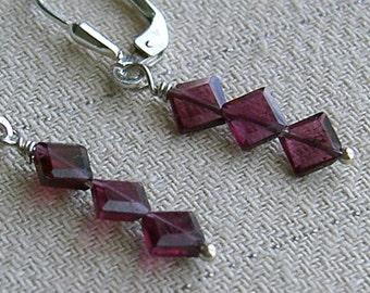 Faceted Cut Garnet Gemstone Beaded Earrings with Sterling Silver Lever Backs Diamond Shaped