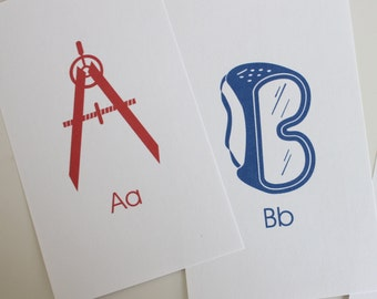 Toolbox Alphabet Flash Cards - 3x5 Printable PDF, blue, red