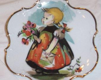 Vintage Enesco Little Girl Decor Plate