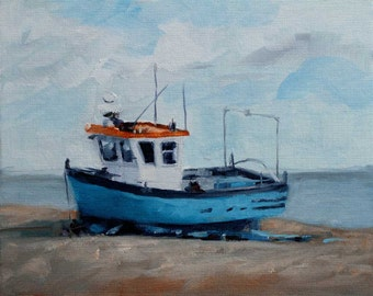 Beached Blue and White Boat on Rust Orange Beach, Coastal, Original by Clair Hartmann
