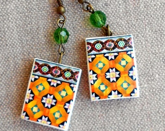 The Colors of Portugal  Antique Tile Replica Earrings,  Ilhavo, Orange Geometric  - waterproof and reversible 243