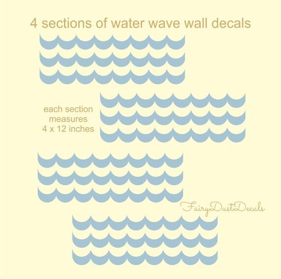 Water Waves Decals Vinyl Wall Decal Water Stickers Nursery
