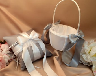 Custom Colors Flower Girl Basket and Romantic Satin Ring Bearer Pillow Combo...You Choose the Colors....shown in silver gray/white