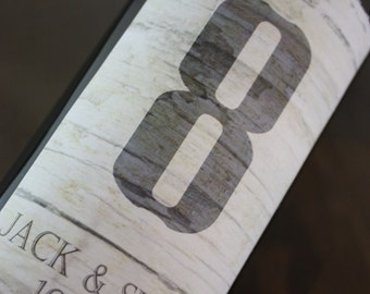 Table Number Wine Label....Weathered Wood