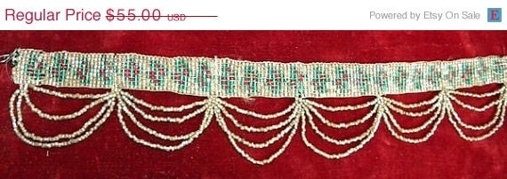 Summer SALE 20% OFF - Unusual Colorful Antique Flapper Beaded Trim Collar Exceptional