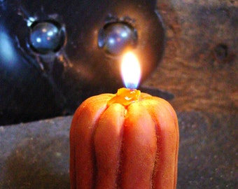 Scented Beeswax Candle, Primitive Pumpkin Candle, Primitive Halloween Decor, Primitive Thanksgiving & Fall Home Decor, Beeswax Candles